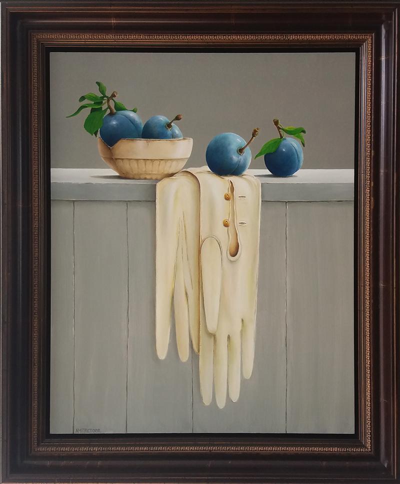 blauwe pruimen en zeemlederen dames handschoenen